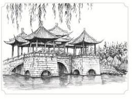 古城扬州手绘明信片图片