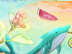 美食 水彩画 合成图 美少女 花朵 鲜花