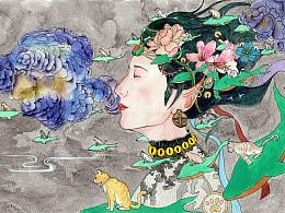 弥龙水彩-猫娘娘