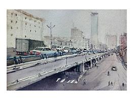 一组城市的水彩画