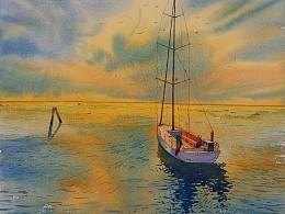 水彩作品《一个人的日落》绘画过程图