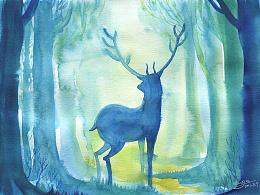 绘制的21张关于鹿的水彩作品
