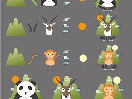 卡通动物图标