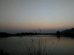 黄昏,池塘景色的凄美