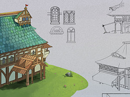 原画设计-场景组件居民旅店三视图