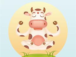 一只打坐的奶牛