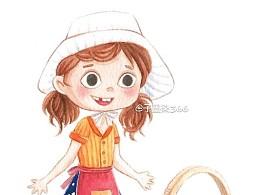 水彩手绘q版小女孩