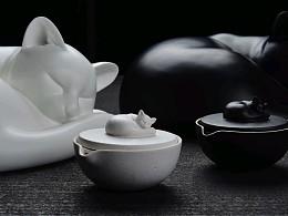 当雕塑融入陶瓷,酣睡的茶猫。
