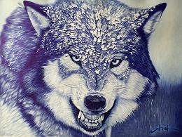 圆珠笔四开狼一只