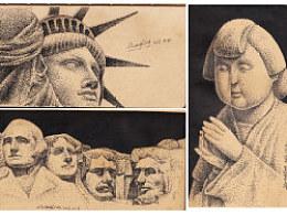 钢笔画塑像局部一组
