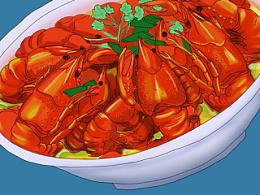 手绘美食--甲鱼三文鱼小龙虾