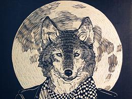 【狼】手工雕刻黑白木刻版画装饰挂画