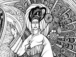 傅纯强手绘黑白装饰画《盛开》过程图