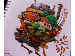 手绘一临摹天空之城