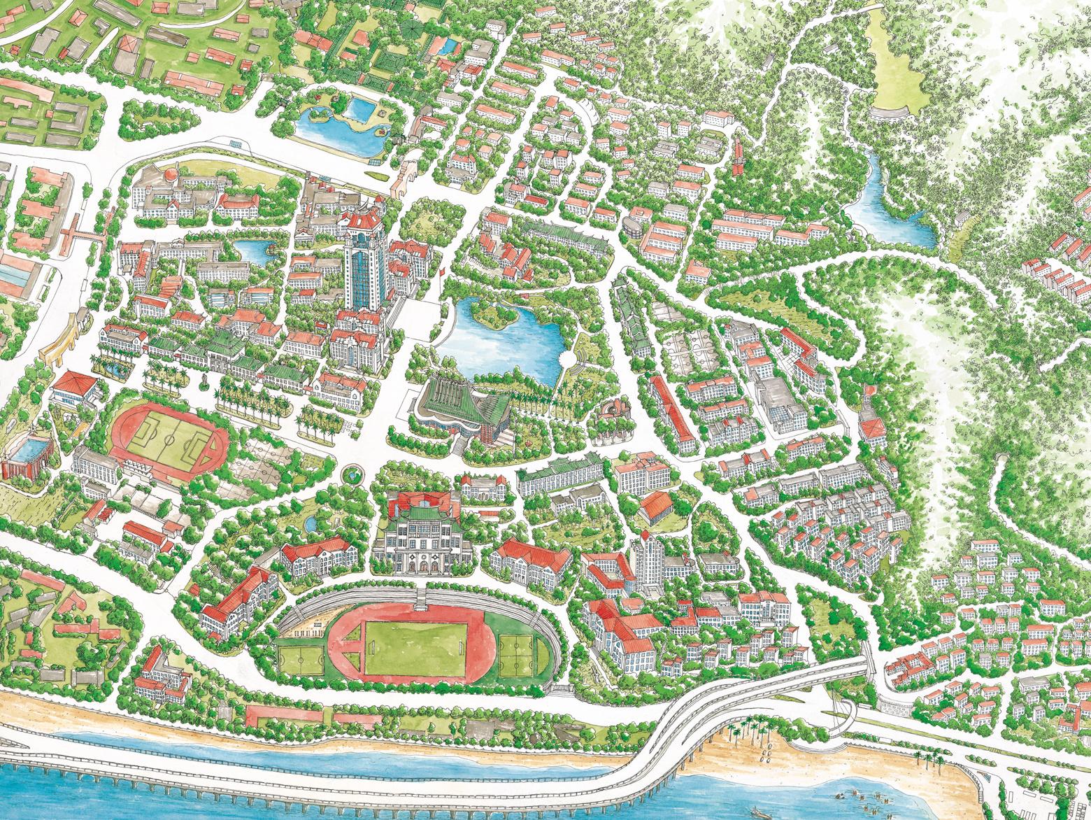 厦门手绘地图电子版-厦门地图旅游地图高清|厦门手绘
