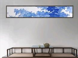青花瓷板  中庭日淡芭蕉卷