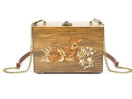 手艺盟原创设计款 麋鹿刺绣木包