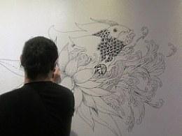 """""""花叶果篮鱼水""""——墙绘过程"""