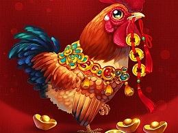 (娃他妈)画只小鸡迎新春