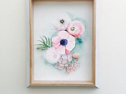 永生花水彩花卉系列