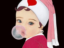戴珍珠耳环的粉红少女