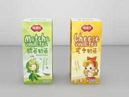 福事多奶茶系列包装设计