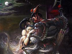 油画作品《吕布与貂蝉》