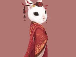 秦尼兔形象设计,古风兔子
