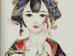 手绘插画《花香簪入鬓》彩铅水彩笔