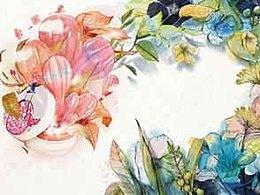 化妆品杂志仿水彩插画《热气球与植物》