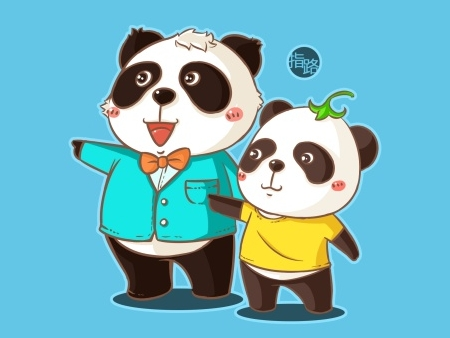 成都城市形象熊猫卡通图片