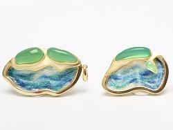 原創作品:《海島》刺繡綠玉髓結合胸針