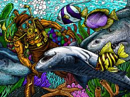 深海系列——遇见虎鲨(手绘过程)