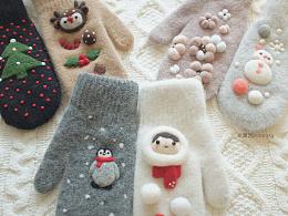 羊毛毡手套 冬天和圣诞节主题