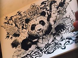 (寿比喜)熊猫,鹤,马。针管笔练习
