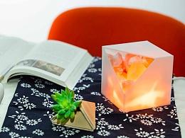 [产品设计一课程作品]一半火焰——原木拼接水晶盐灯