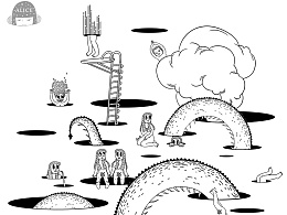 隐身少女Alice《黑洞》黑白个人插画漫画gif动图自画像