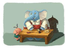 修钟表的大象&凑热闹的小猪猪