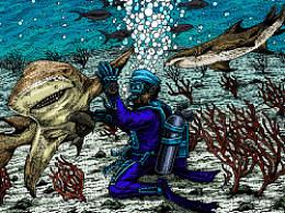 深海系列——遇见柠檬鲨(手绘过程)