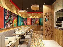 一家米线店设计效果图  餐饮设计 米线店照片