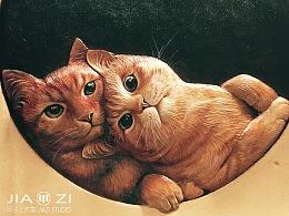 甲子工作室 太原   皮雕作品 有态度的猫