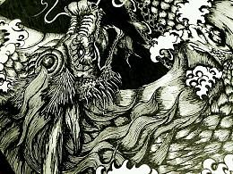 中国风系列长卷_手绘_黑白_纹身_插画