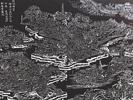 手工雕刻黑白木刻版画风景