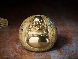 铜师傅 全铜摆件《鎏金珐琅之开心弥勒》 家居工艺品 客厅摆件