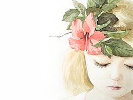 一只戴花环的小女孩(步骤)