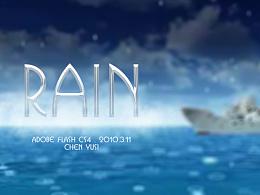 2010年做的一个flash动画雨滴练习