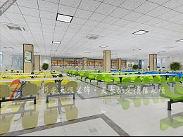 郑州高校餐厅装修,大学校园食堂装修,郑州学校食堂效果图设计图片