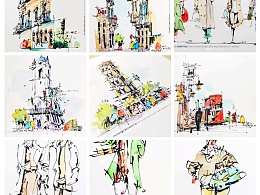 《高红成钢笔淡彩人物建筑速写作品》