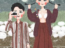 旅拍婚纱照插画分享