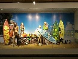 夏季橱窗设计/冲浪板道具/玻璃钢浪板广告展示